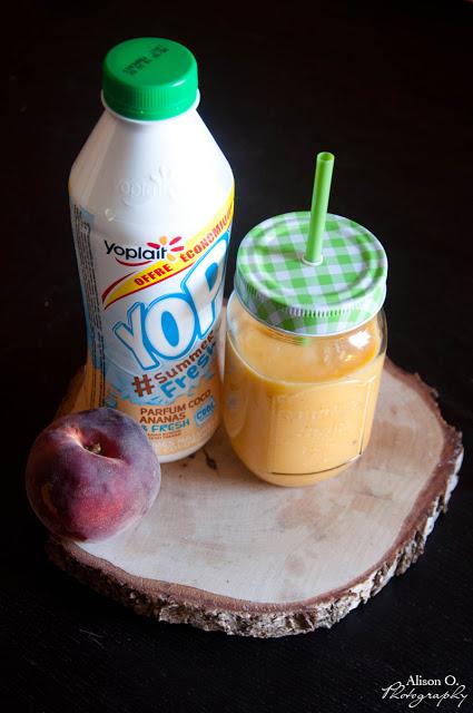 Recette de smoothie pêche et yop coco ananas